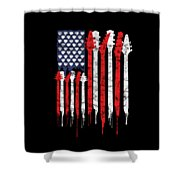 Patriotic Guitar Flag America Lovers Guitar Music Lovers Gifts Shower Curtain