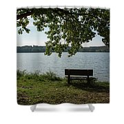 Peaceful Bench Shower Curtain