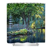 Peaceful Oasis - Japanese Garden Lake Shower Curtain