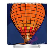 Peach Hot Air Balloon Night Glow In Abstract Shower Curtain