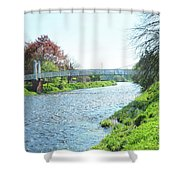 pedestrian bridge over river Tweed at Peebles Shower Curtain