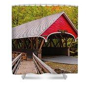 Pemigewasset River Covered Bridge Shower Curtain by James Billings