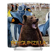 Penguinzilla Shower Curtain by ISAW Company