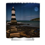 Penmon Lighthouse And Puffin Island Shower Curtain