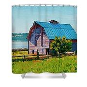 Penn Cove Barn Shower Curtain