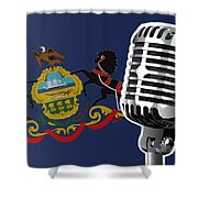 Pennsylvania Flag And Microphone Shower Curtain