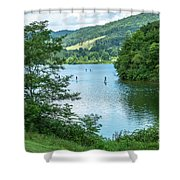 People Use Stand-up Paddleboards On Lake Habeeb At Rocky Gap Sta Shower Curtain