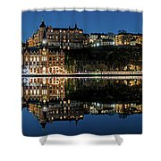 Perfect Sodermalm Blue Hour Reflection Shower Curtain