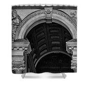 Philadelphia City Hall Fresco In Black And White Shower Curtain