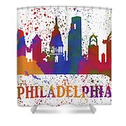 Philly Color Splash Shower Curtain
