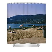 photograph of thid beach which is located in Stanley Park Vancouver. Third beach is a popular location for tourists and locals alike. Shower Curtain