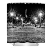 Pier 7 In Black And White Shower Curtain
