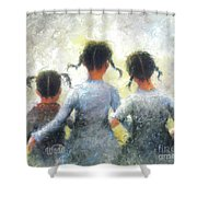 Pigtails Three Sisters Shower Curtain