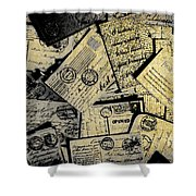 Piled Paper Postcards Shower Curtain