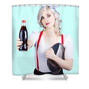 Pin-up Girl Holding Soft Drink Bottle Shower Curtain