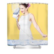 Pin Up Woman Providing Steam Clean Ironing Service Shower Curtain