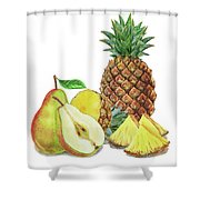 Pineapple Pear Watercolor Food Illustration  Shower Curtain