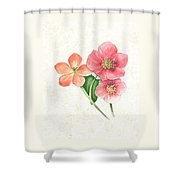 Pink And Orange Flowers On Subtle Cream Marble Shower Curtain