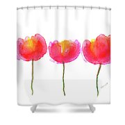 Pink Beauties Watercolor Painting Shower Curtain