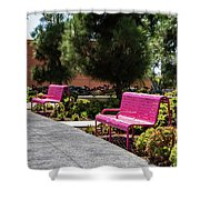 Pink Chairs At Grand Park Shower Curtain