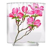 Pink Dogwood Vertical Design Shower Curtain