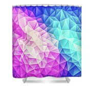Pink Ice Blue  Abstract Polygon Crystal Cubism Low Poly Triangle Design Shower Curtain