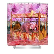 Pink Laughing Elephant Shower Curtain