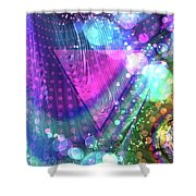 Pink Triangle Fractal Shower Curtain