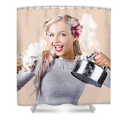 Pinup Girl Holding Kettle And Mug Shower Curtain