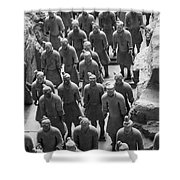 Pit 1 Of Terra Cotta Warriors In Black And White Shower Curtain