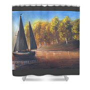 Plain Sailing, Boat Painting Shower Curtain