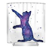 Playful Galactic Cat Shower Curtain