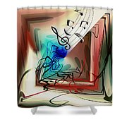 Playing The Piano Abstract Shower Curtain by Robert G Kernodle