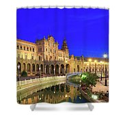 Plaza De Espana At Night Seville Andalusia Spain Shower Curtain