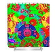 Poker Stacks Shower Curtain