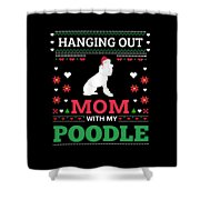 Poodle Ugly Christmas Sweater Xmas Gift Shower Curtain