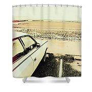 Pop Art Beach Carpark  Shower Curtain