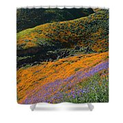 Poppies Bluebells And Rolling Hills Shower Curtain