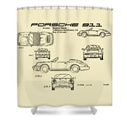 Porsche 911 Patent Drawing Vintage Art Print Shower Curtain by David Millenheft