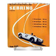 Porsche Sebring Vintage Racing Poster Shower Curtain