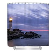 Portland Head Light At Twilight Pano Shower Curtain