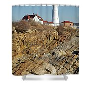 Portland Head Light - Cape Elizabeth Maine Shower Curtain