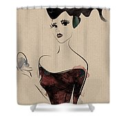 Portrait Of A Girl With Make Up Powder Shower Curtain