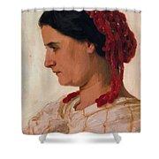 Portrait Of Angela B Cklin In Red Fishnet Shower Curtain