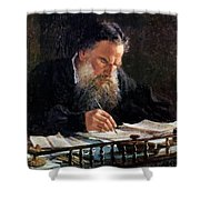 Portrait Of Leo Tolstoy Shower Curtain
