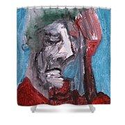 Portrait On Blue Shower Curtain