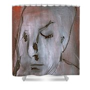 Portrait On Red Shower Curtain