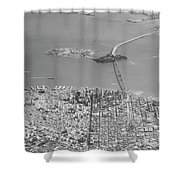 Portrait View Of Downtown San Francisco From Commertial Airplane Shower Curtain