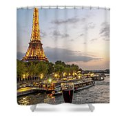 Portrait View Of The Eiffel Tower At Night With Wine Glass In The Foreground Shower Curtain