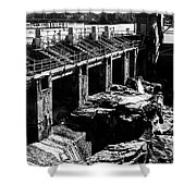 Post Falls Dam Black And White Shower Curtain
